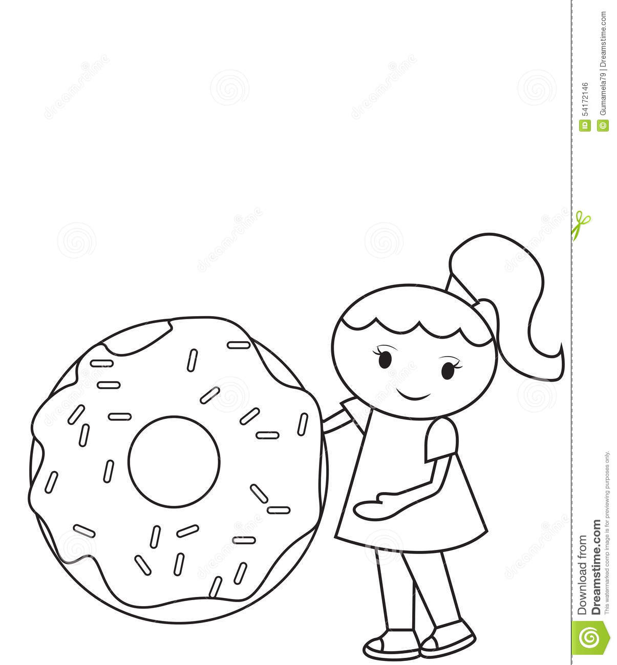 The Girl And The Big Doughnut Coloring Page Stock Illustration