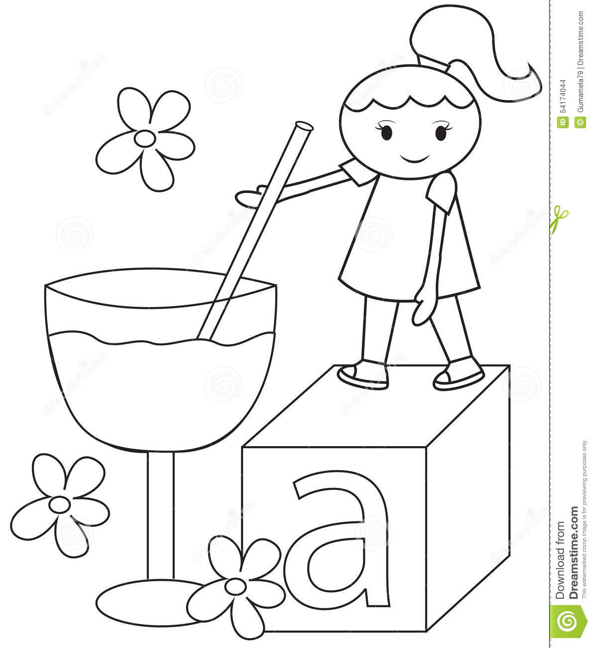 The Girl And The Big Glass Coloring Page Stock Illustration ...