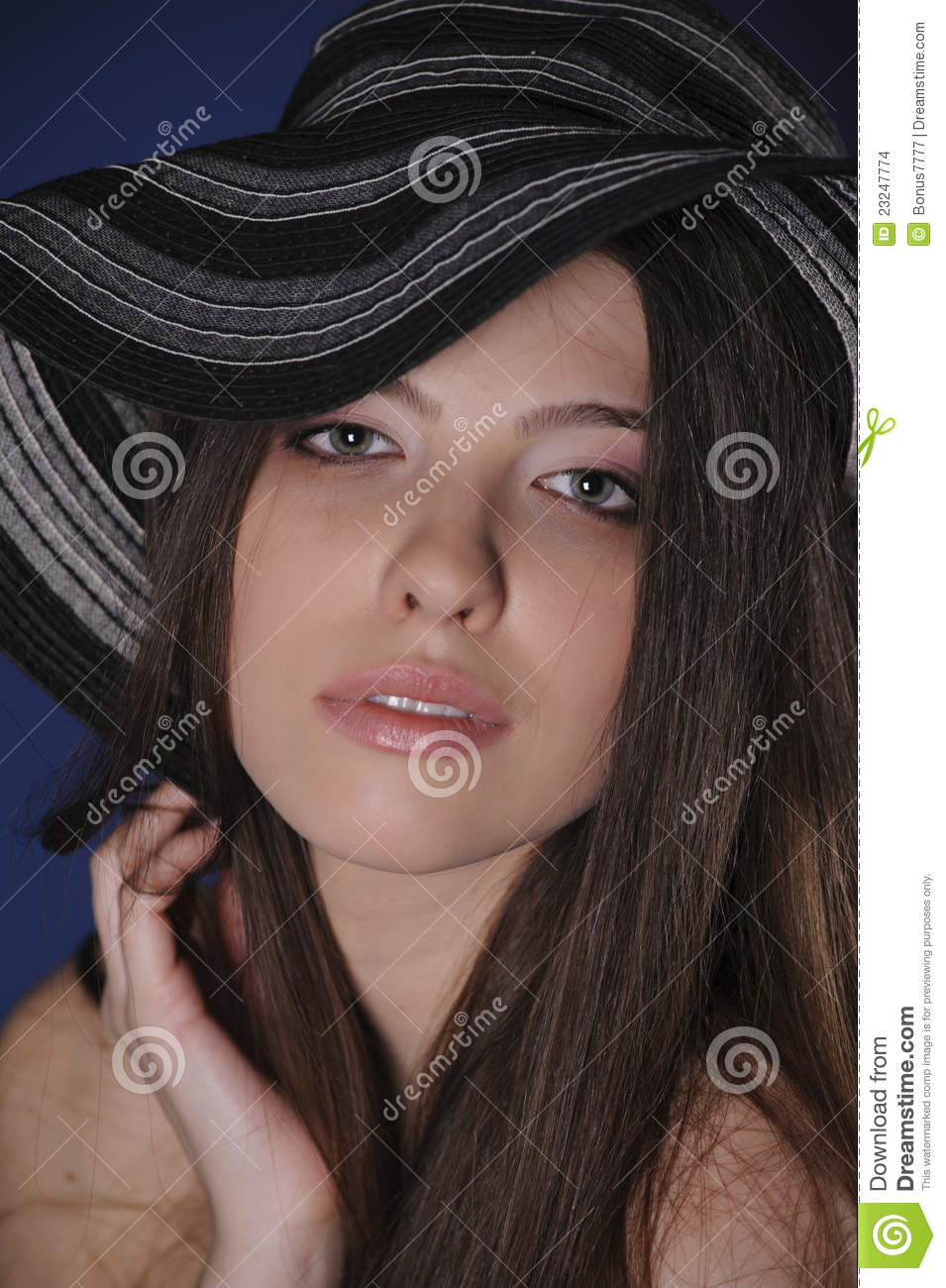 Girl In Big Hat Stock Images