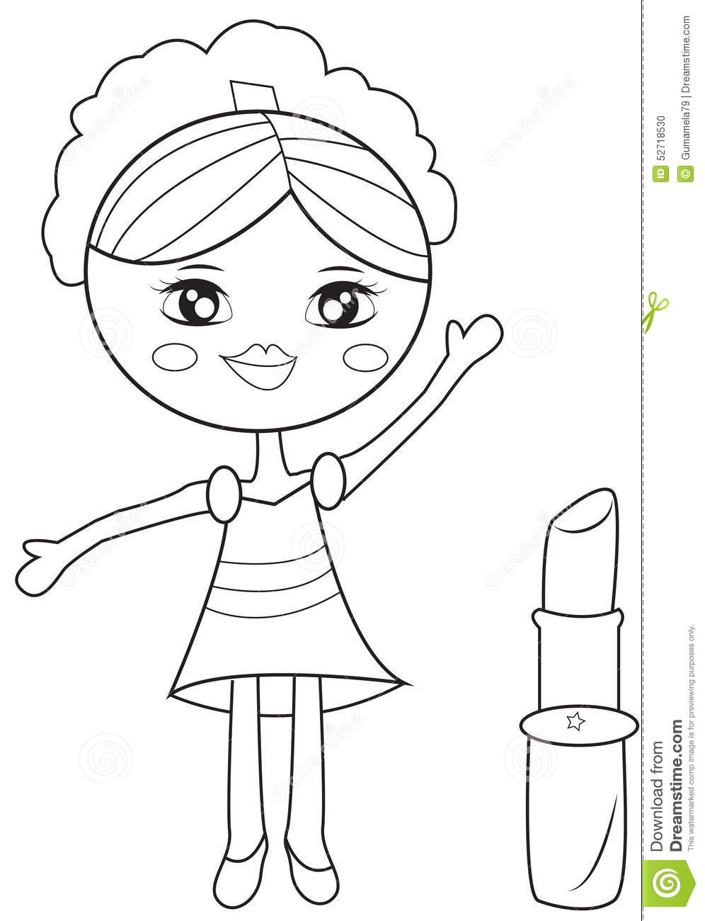 book coloring girl kids lipstick page