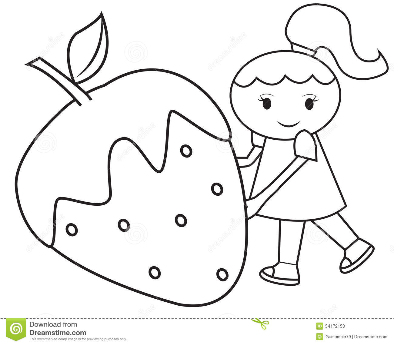 The girl and the big strawberry coloring page stock for Big girl coloring pages