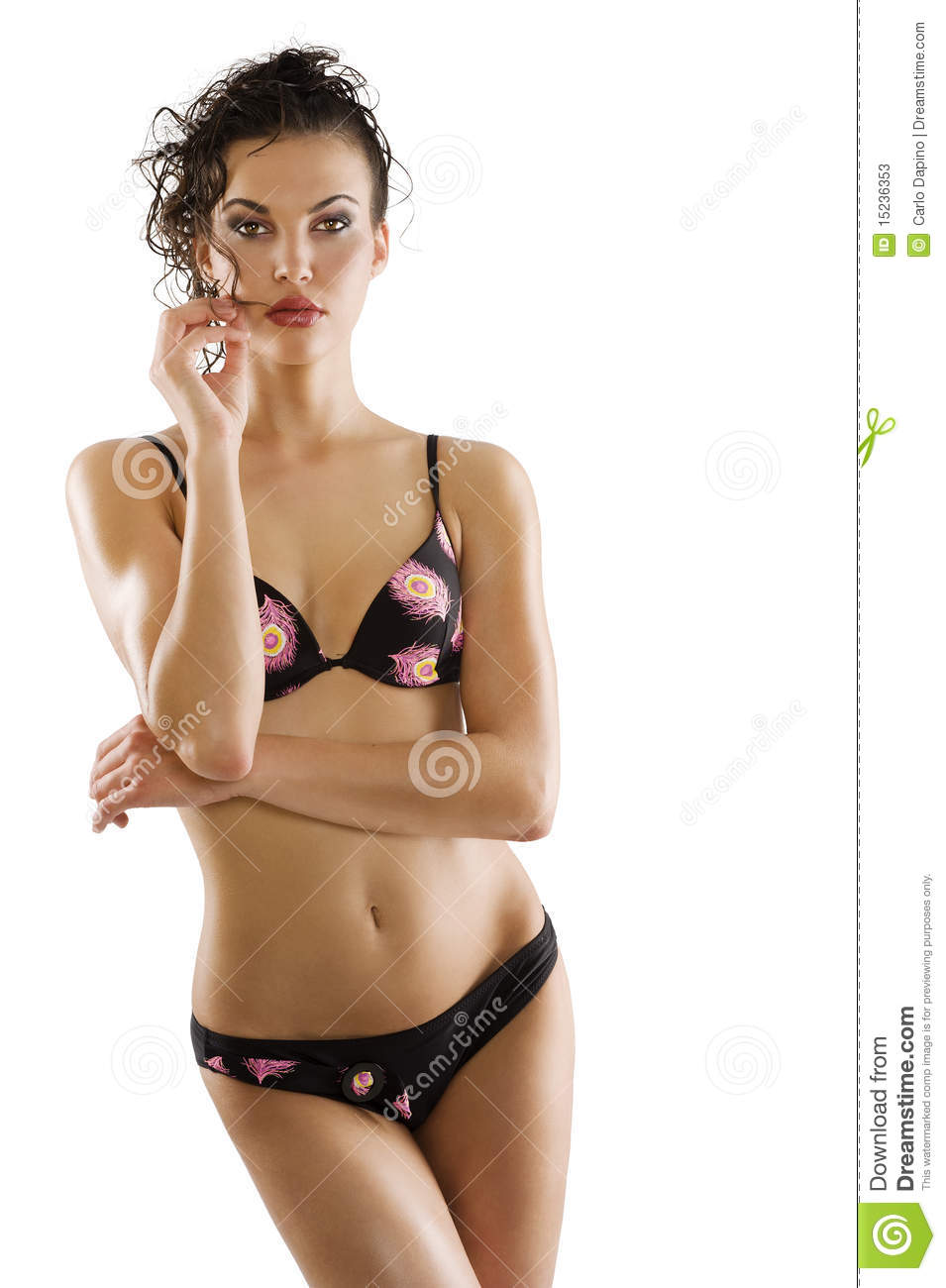 Summer Style Make Up Wet Hair Woman In Swimsuit Stock