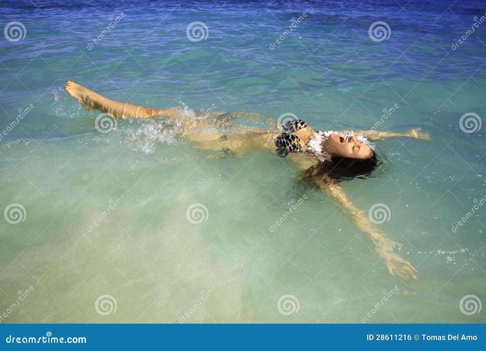 Girl In Bikini At Lanikai Beach Stock Photo Image Of