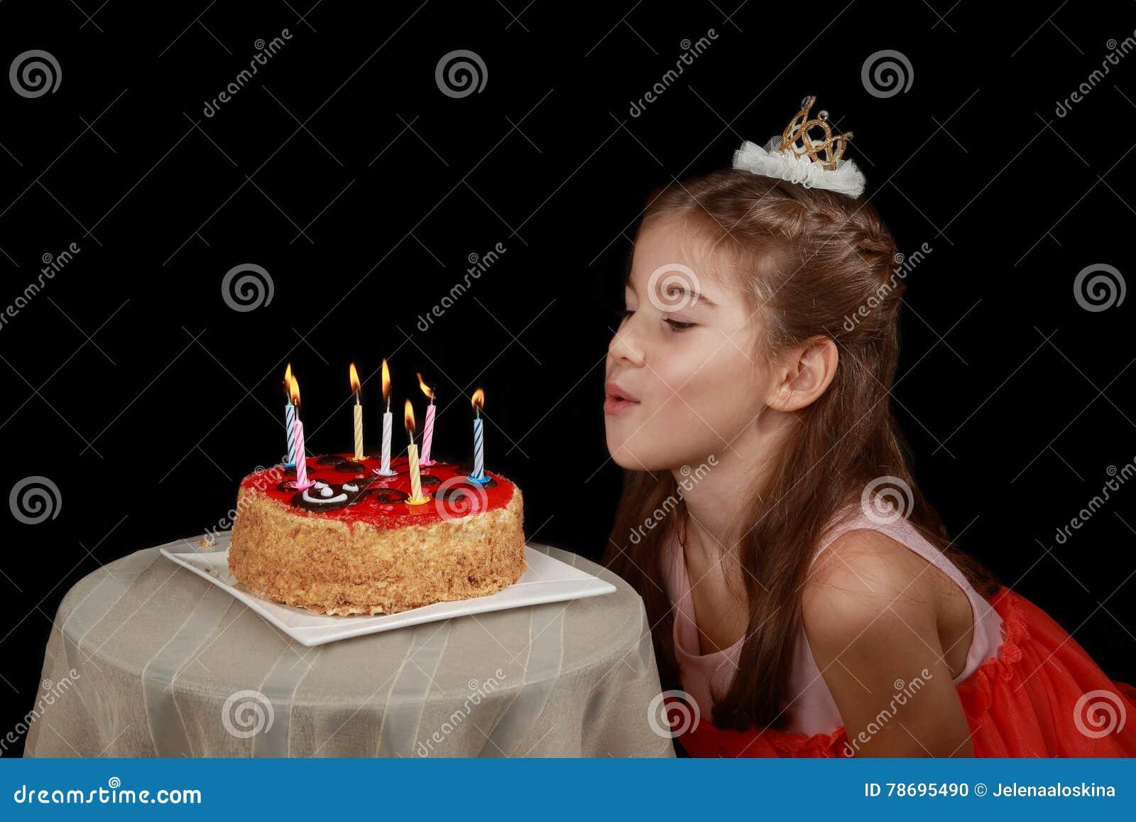 Girl With Birthday Cake Stock Photo Image Of Girl Dark 78695490