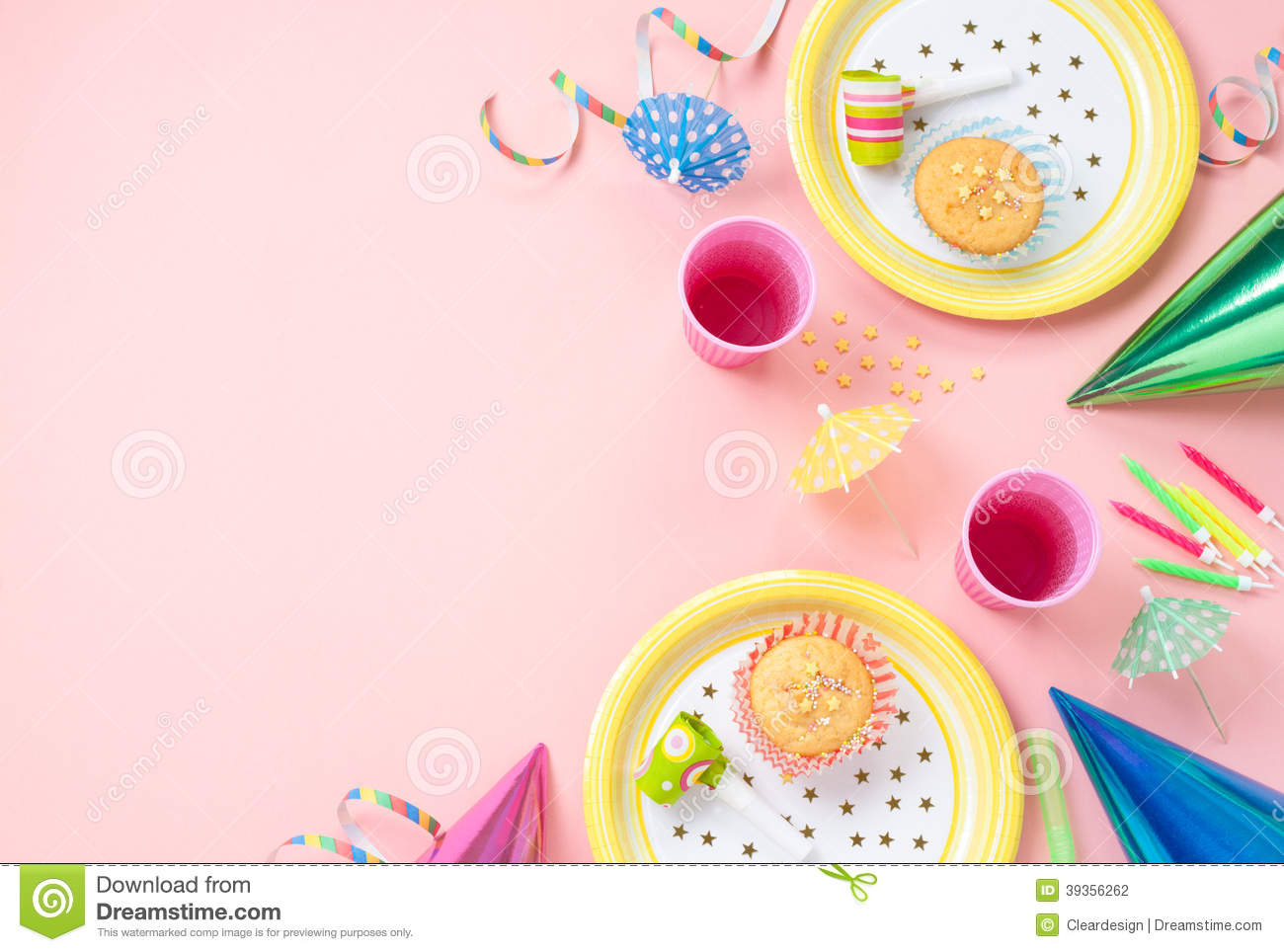 Girl birthday decorations on pink table stock photo for Background decoration images