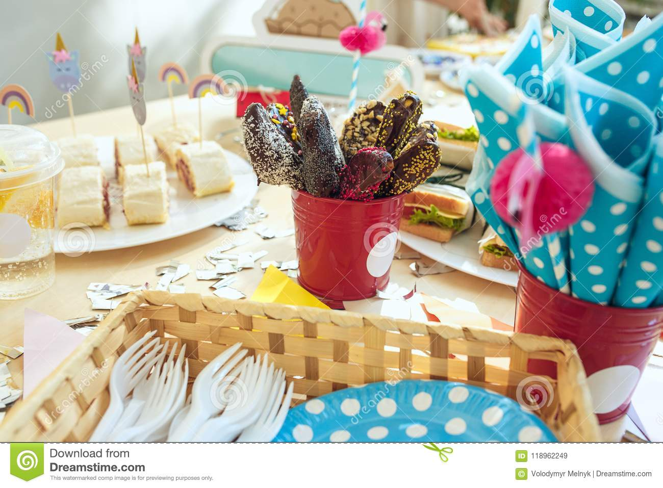 Girl Birthday Decorations Pink Table Setting From Above With Cakes Drinks And Party Gadgets