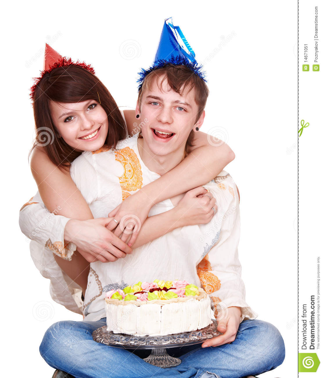 Girl In Birthday Hat Kiss Man With Cake Stock Image Image Of Food