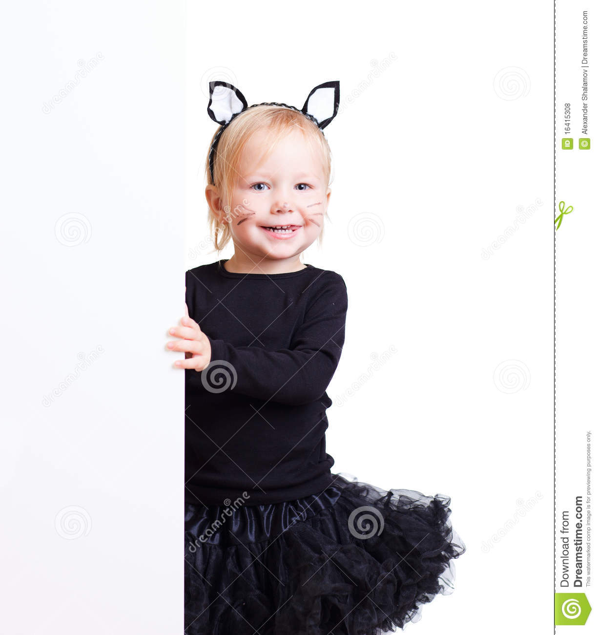 girl in black cat costume with banner stock photo - image of person