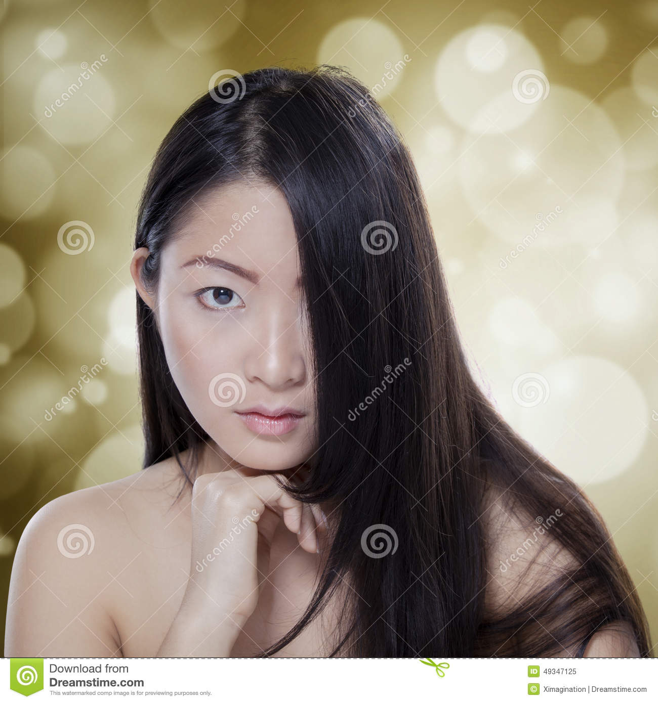 Girl With Black Hair And Healthy Skin Stock Photo Image