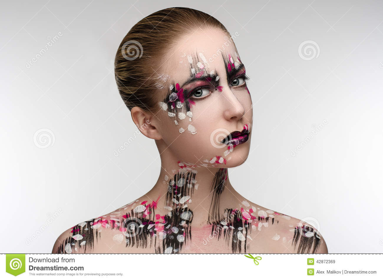 Girl with a black and pink makeup