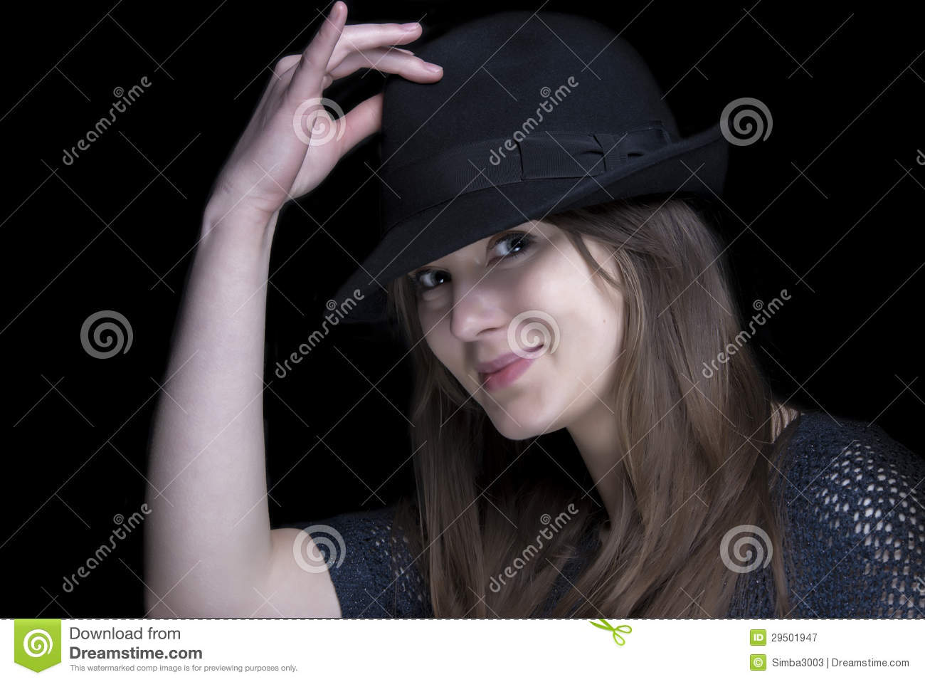 Girl In Black With Stylish Black Hat Stock Image - Image of elegant ... 0f2a4d501e4