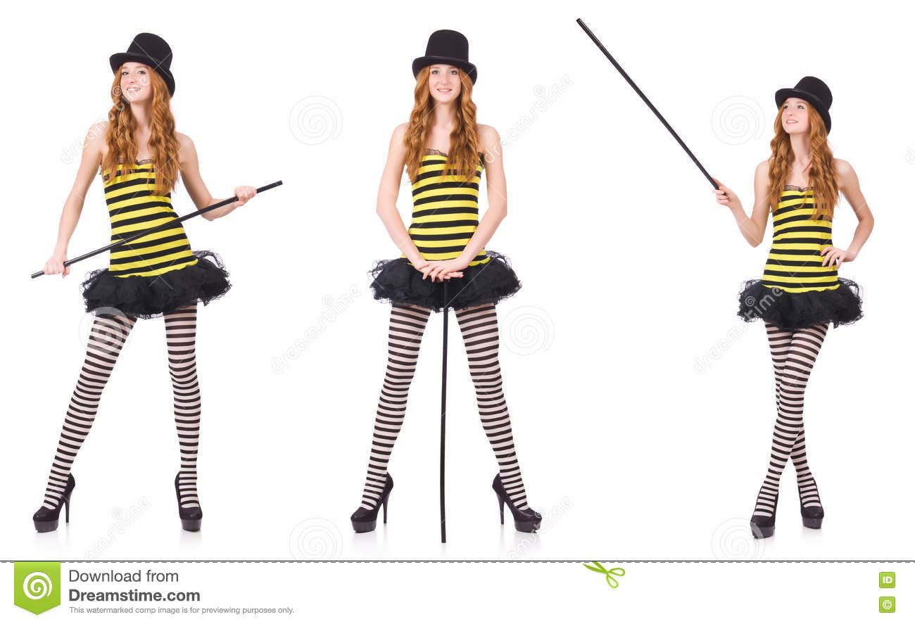 f3eaccee6c979 The A Girl In Black And Yellow Striped Dress Isolated On White Stock ...