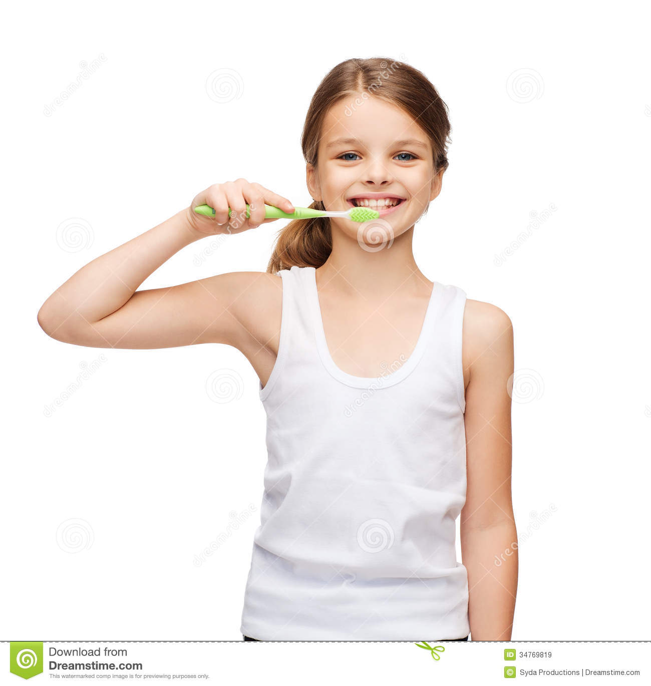 Girl In Blank White Shirt Brushing Her Teeth Stock Image -4182
