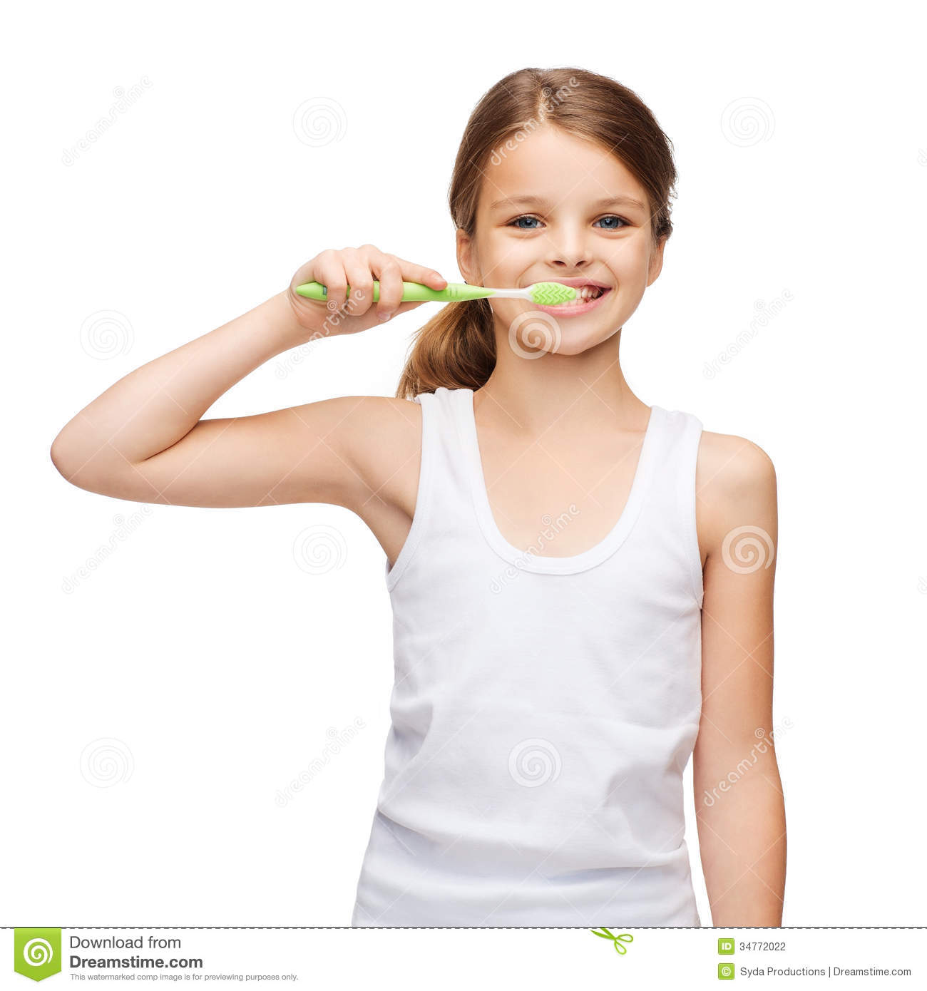 Girl In Blank White Shirt Brushing Her Teeth Stock Photo -7452
