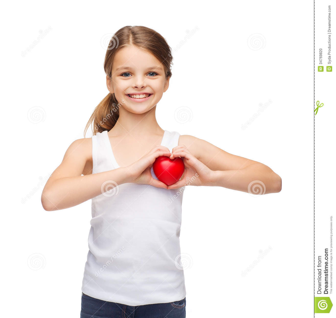 Girl in blank white shirt with small red heart stock photo image 34769820 - Pics of small little girls ...