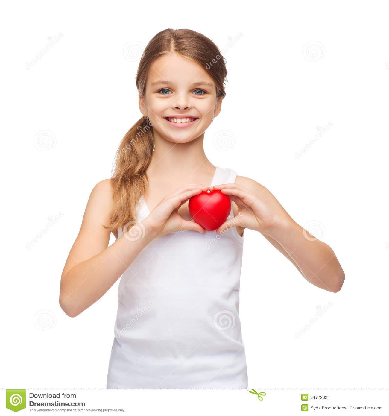 girl in blank white shirt with small red heart stock photo image