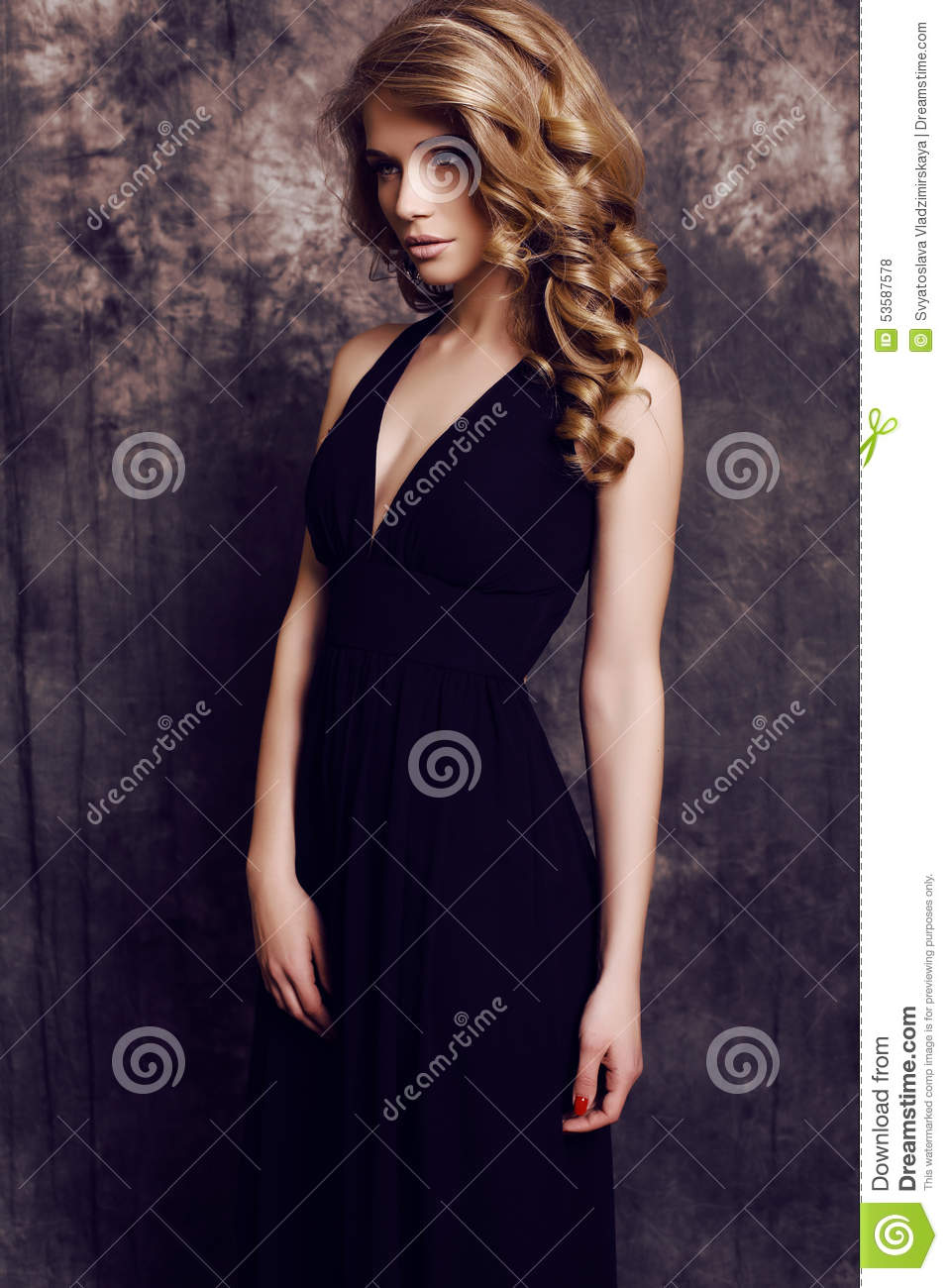 Black dress hairstyle - Girl With Blond Curly Hair Wearing Elegant Black Dress