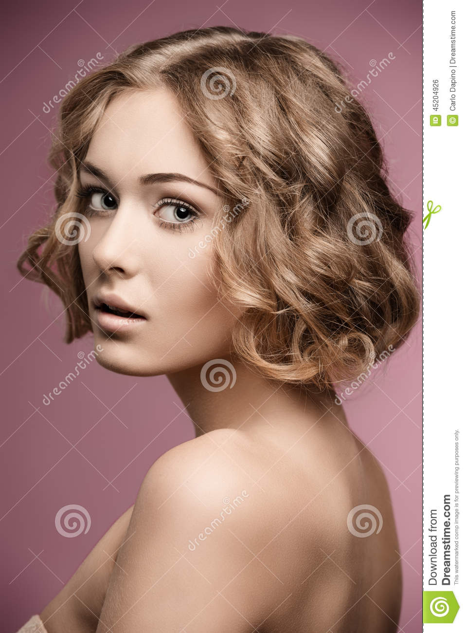 Girl With Blonde Curly Hair Cut Stock Photo Image 45204926