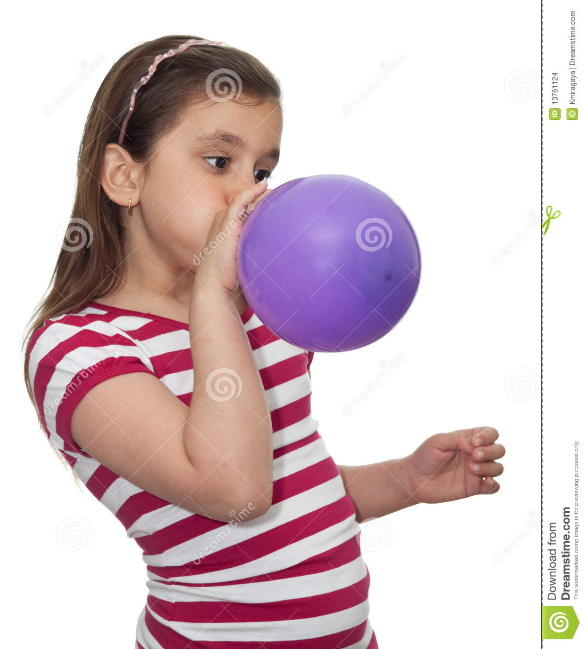 Girl Blowing A Balloon Stock Images Image 13761124