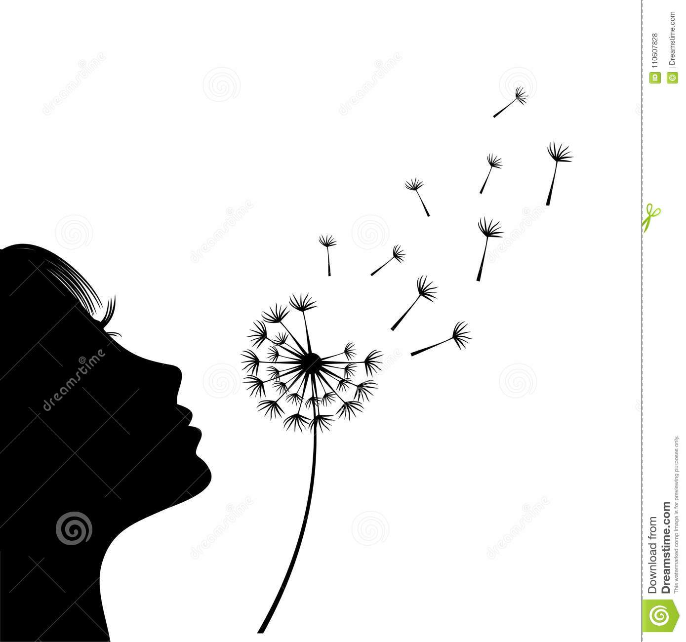 The Girl Is Blowing A Dandelion Silhouette Stock Vector