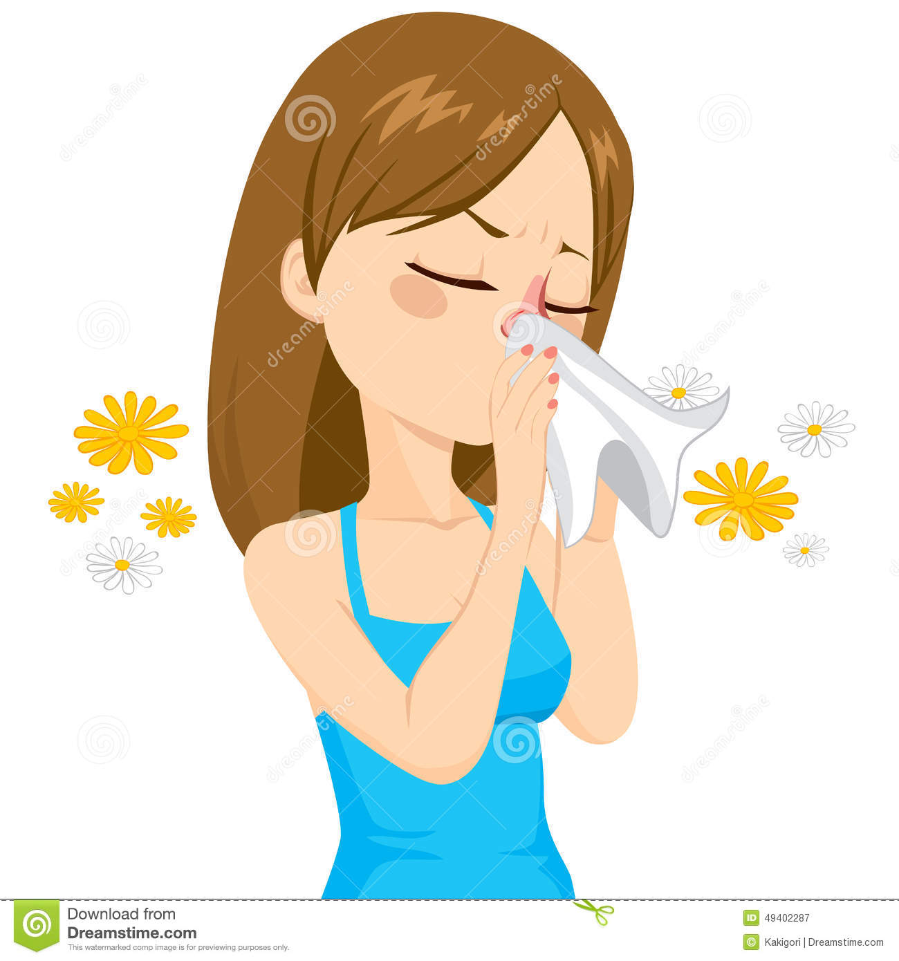 Girl Blowing Nose With Tissue Stock Vector - Illustration ...