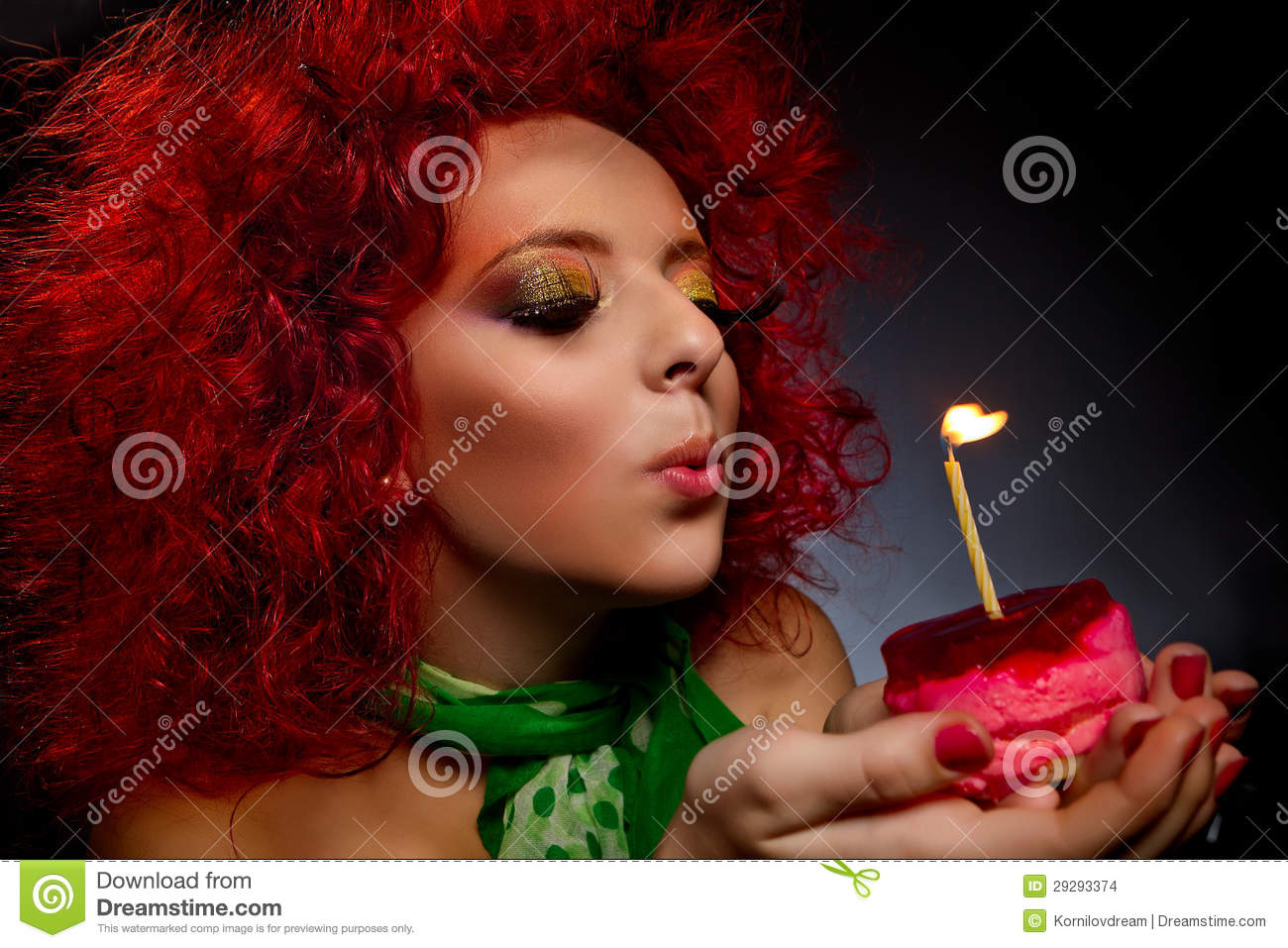 Girl Blowing Out Candle Stock Images Image 29293374
