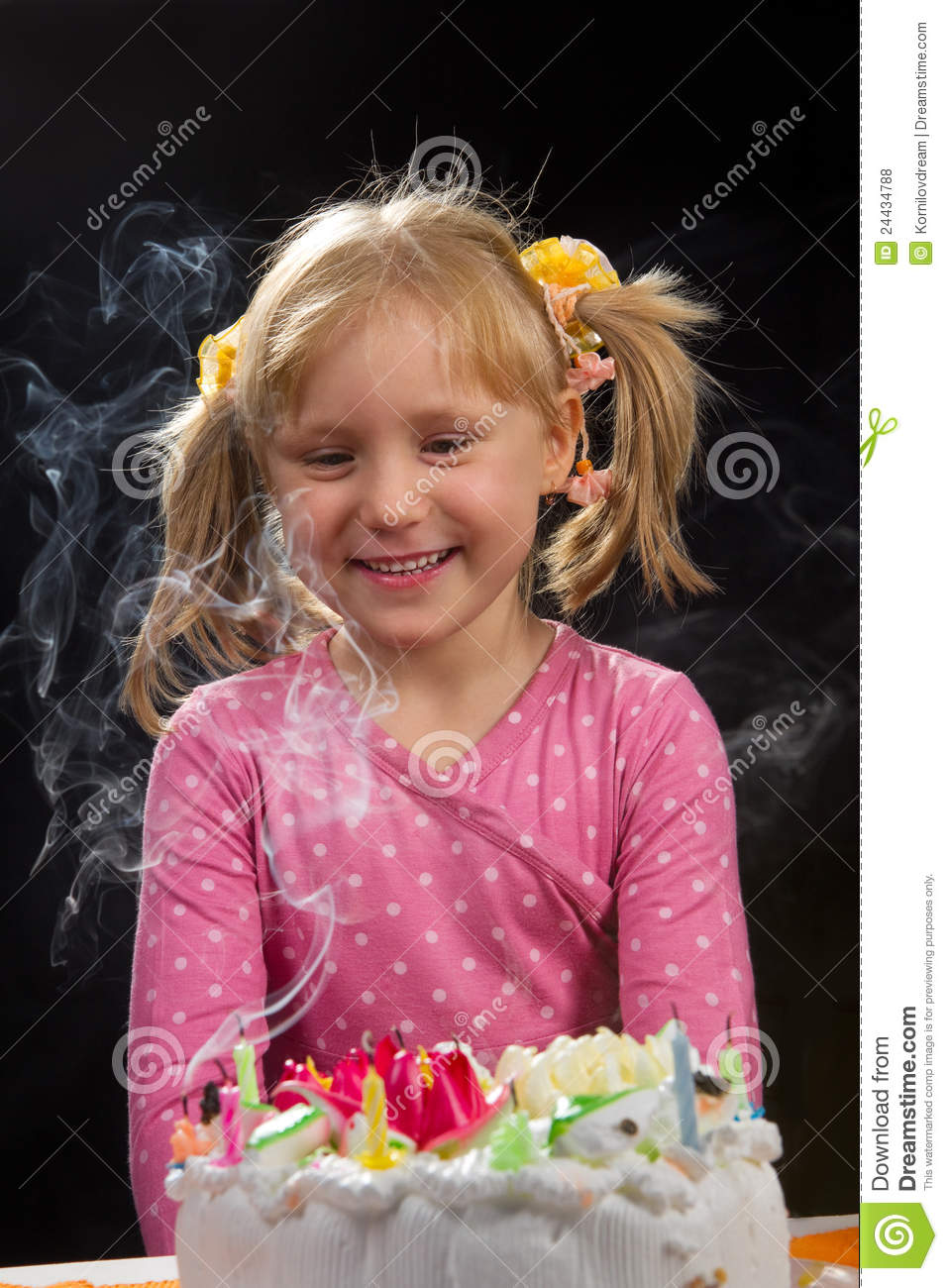 Girl Blowing Out Candles Stock Photo Image Of Cheerful