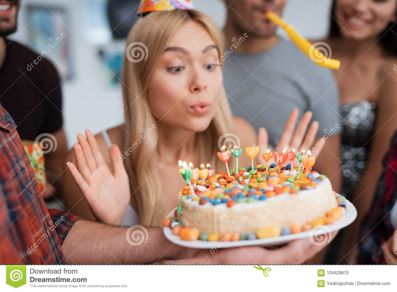 Excellent The Girl Blows Out The Candles On The Birthday Cake A Girl Blows Funny Birthday Cards Online Elaedamsfinfo