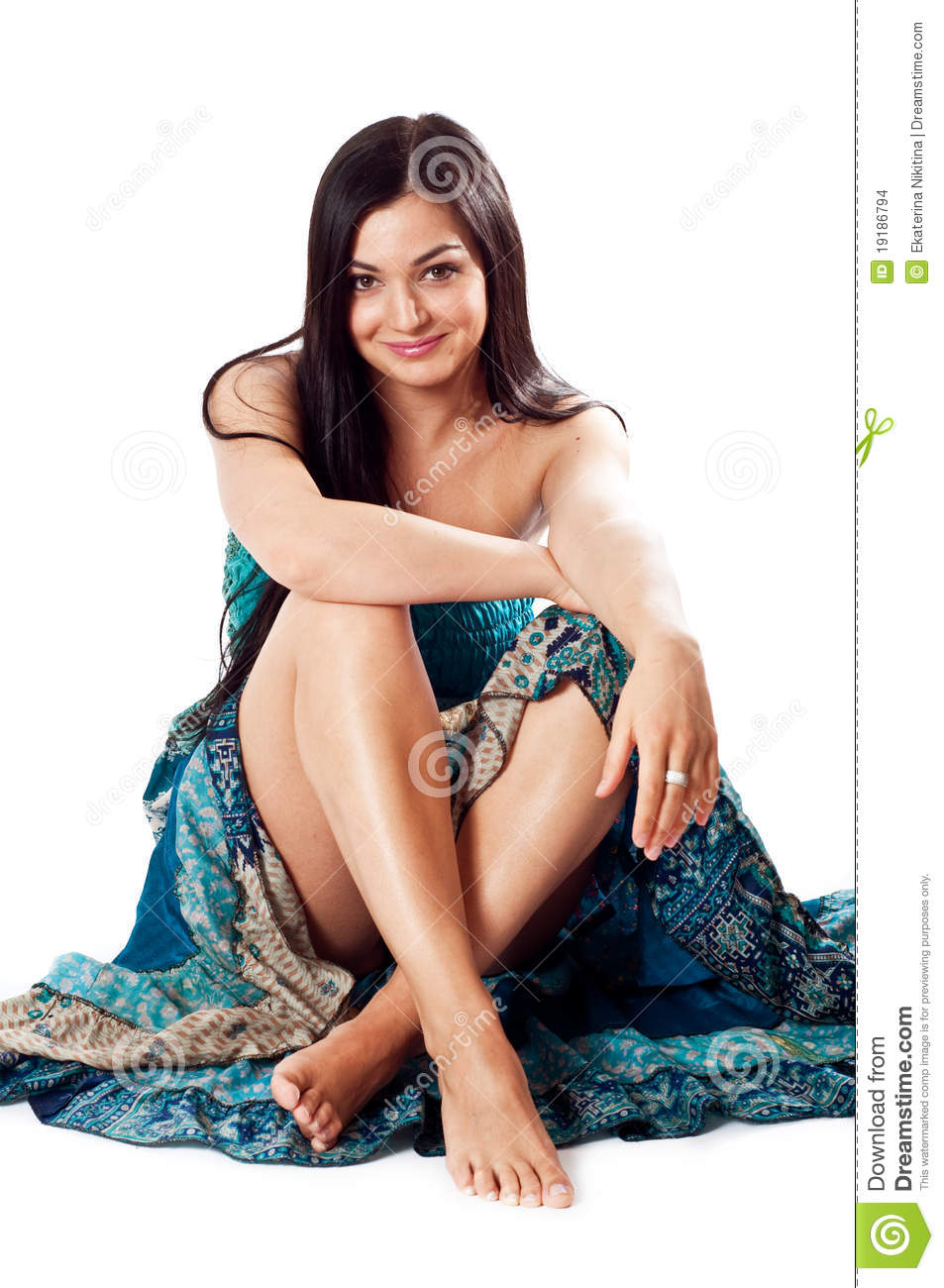 Girl In Blue Dress Sitting Down Stock Photo Image 19186794