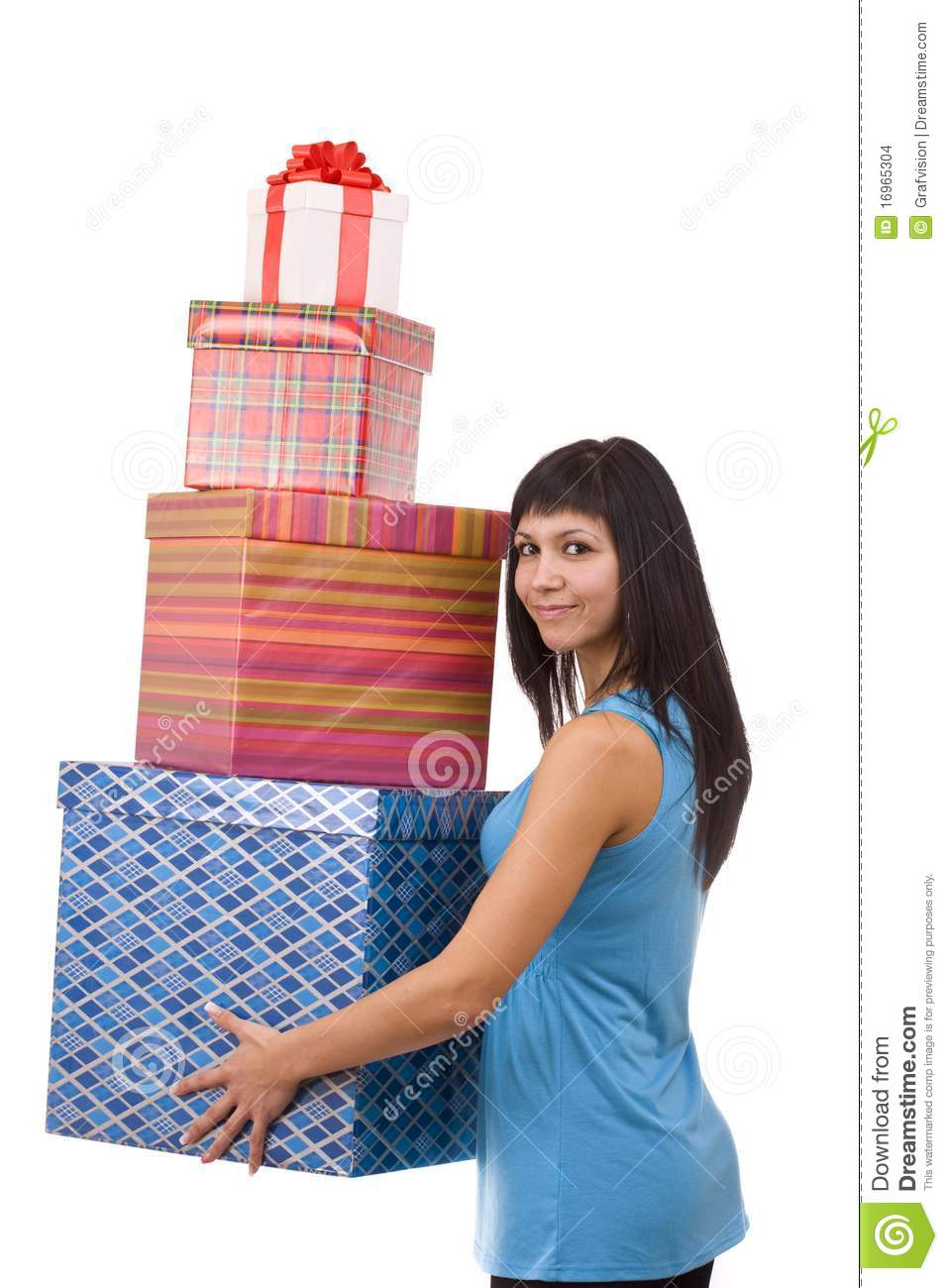 girl in blue with group gift box stock images image 16965304. Black Bedroom Furniture Sets. Home Design Ideas