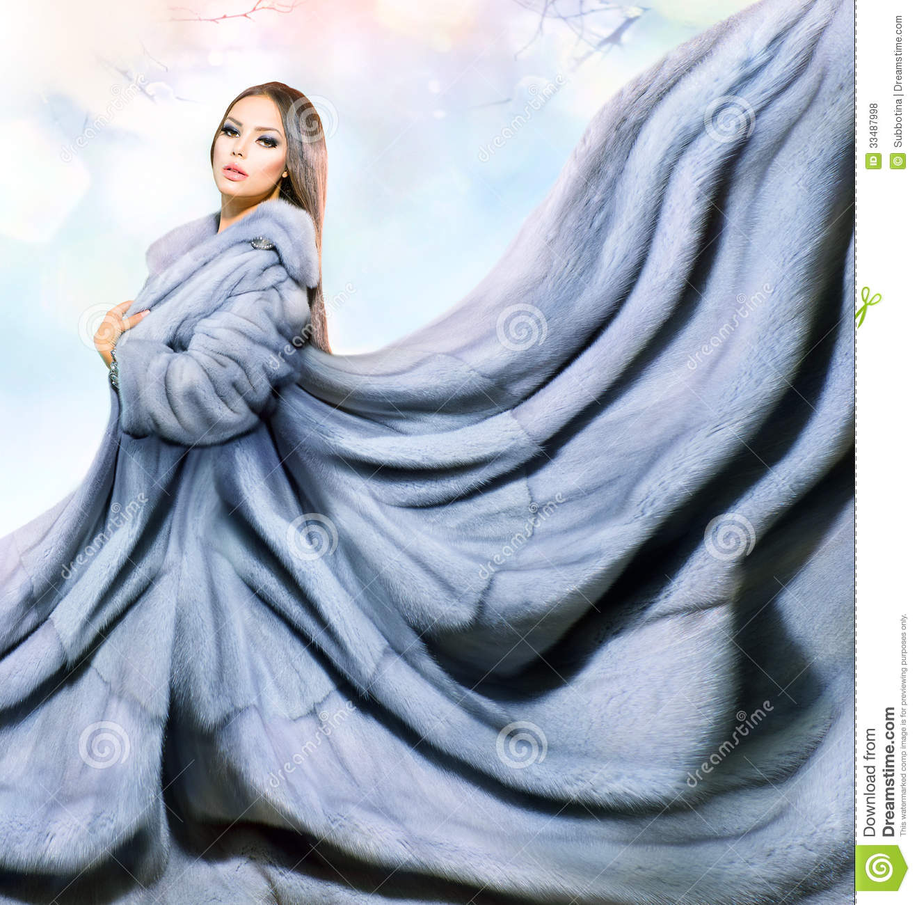 Girl In Blue Mink Fur Coat Royalty Free Stock Photos - Image: 33487998