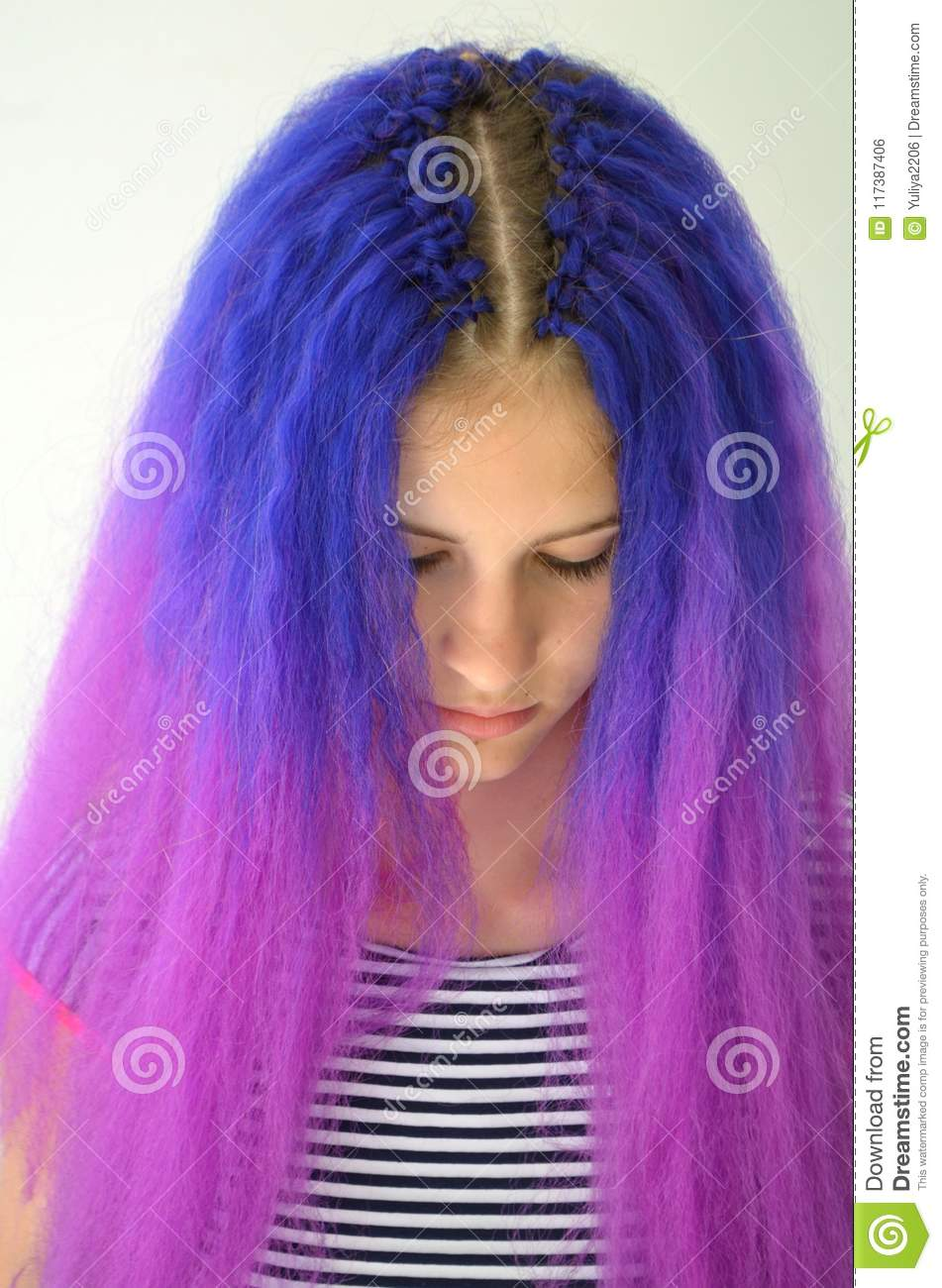 Girl With Blue Purple Hair Technique Of Hair Extensions Kanekalon
