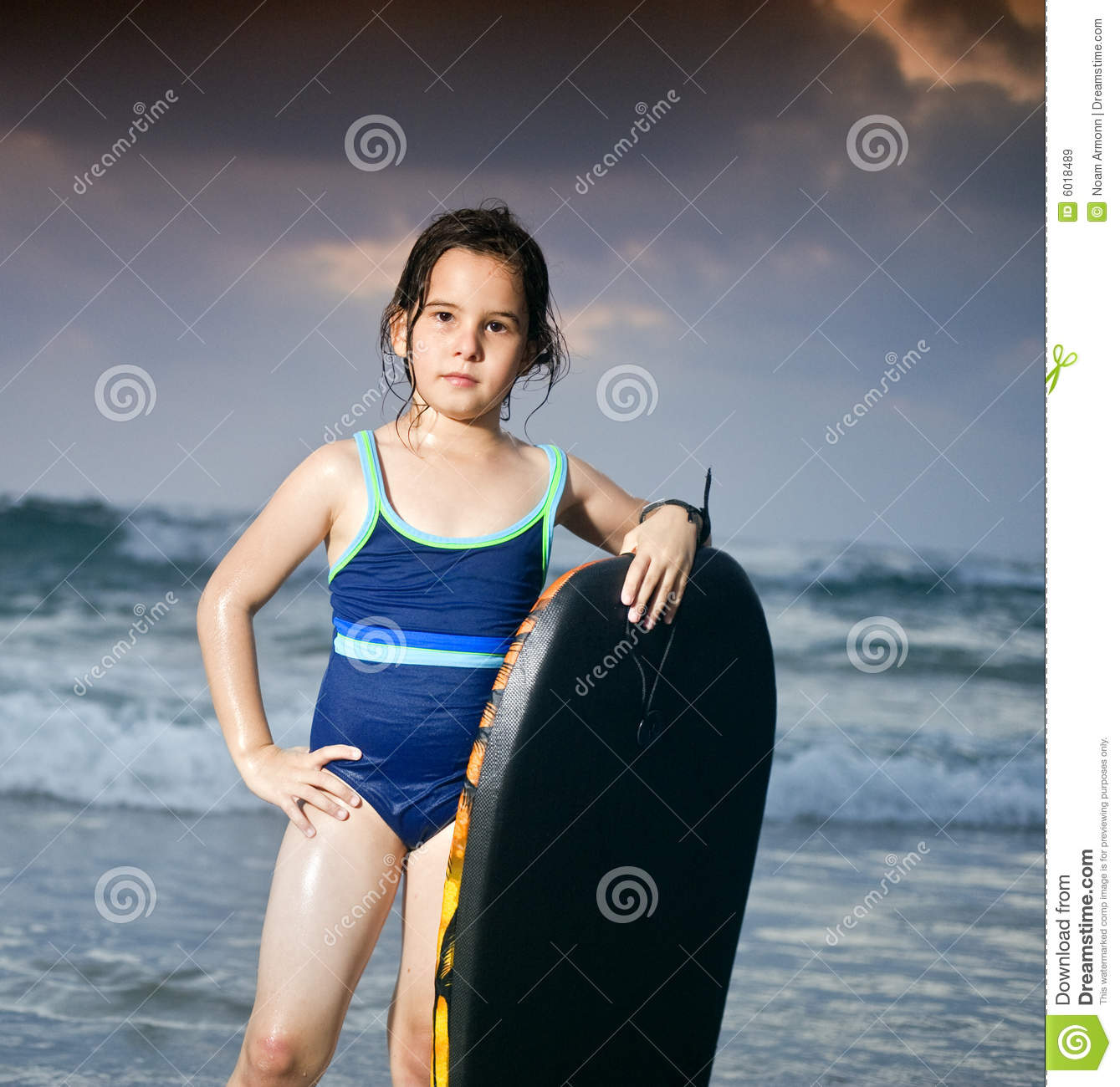 Beautiful Woman Face Over Beach Sunset Stock Image: Girl Boogie Surf Board Stock Image. Image Of Sunset, Beach