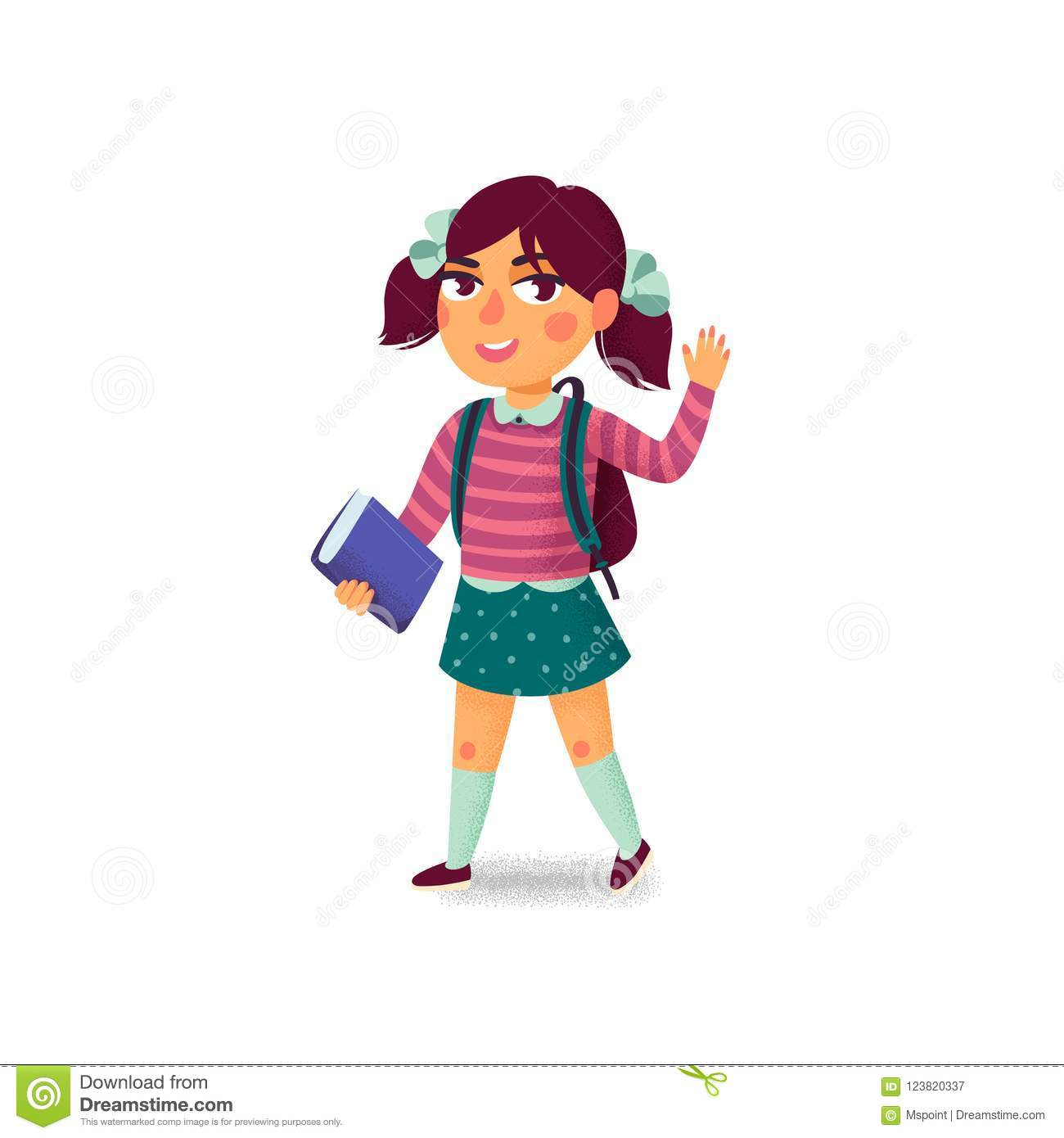 A girl with book and backpack on white background. Happy student. Elementary school pupil. Cheerful young lady. Back to