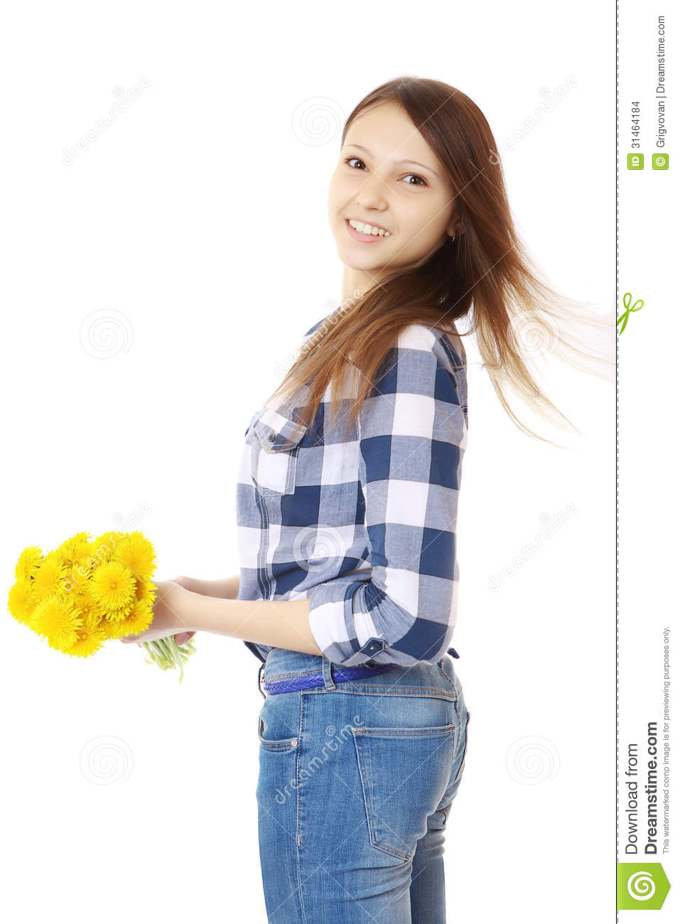 Girl With Bouquet Yellow Wildflowers. Teenage Girl In