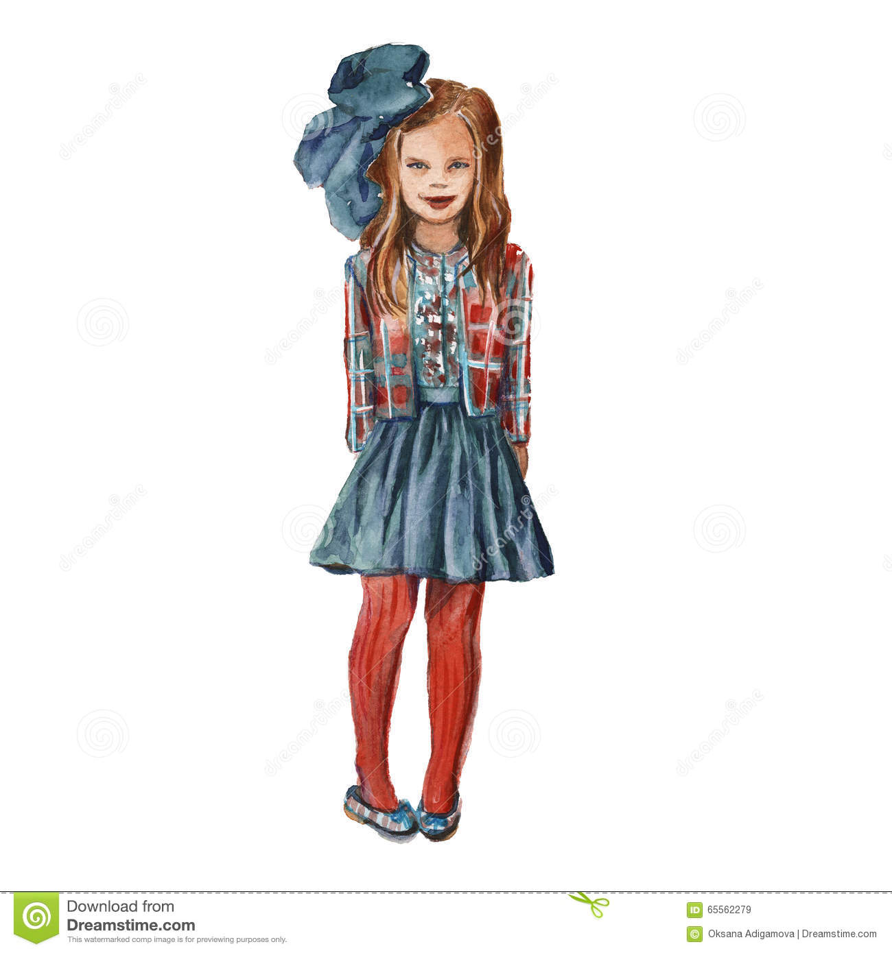 f9ac12c9e4a The Girl With A Bow In Red Stockings. Children s Fashion. Isolat ...