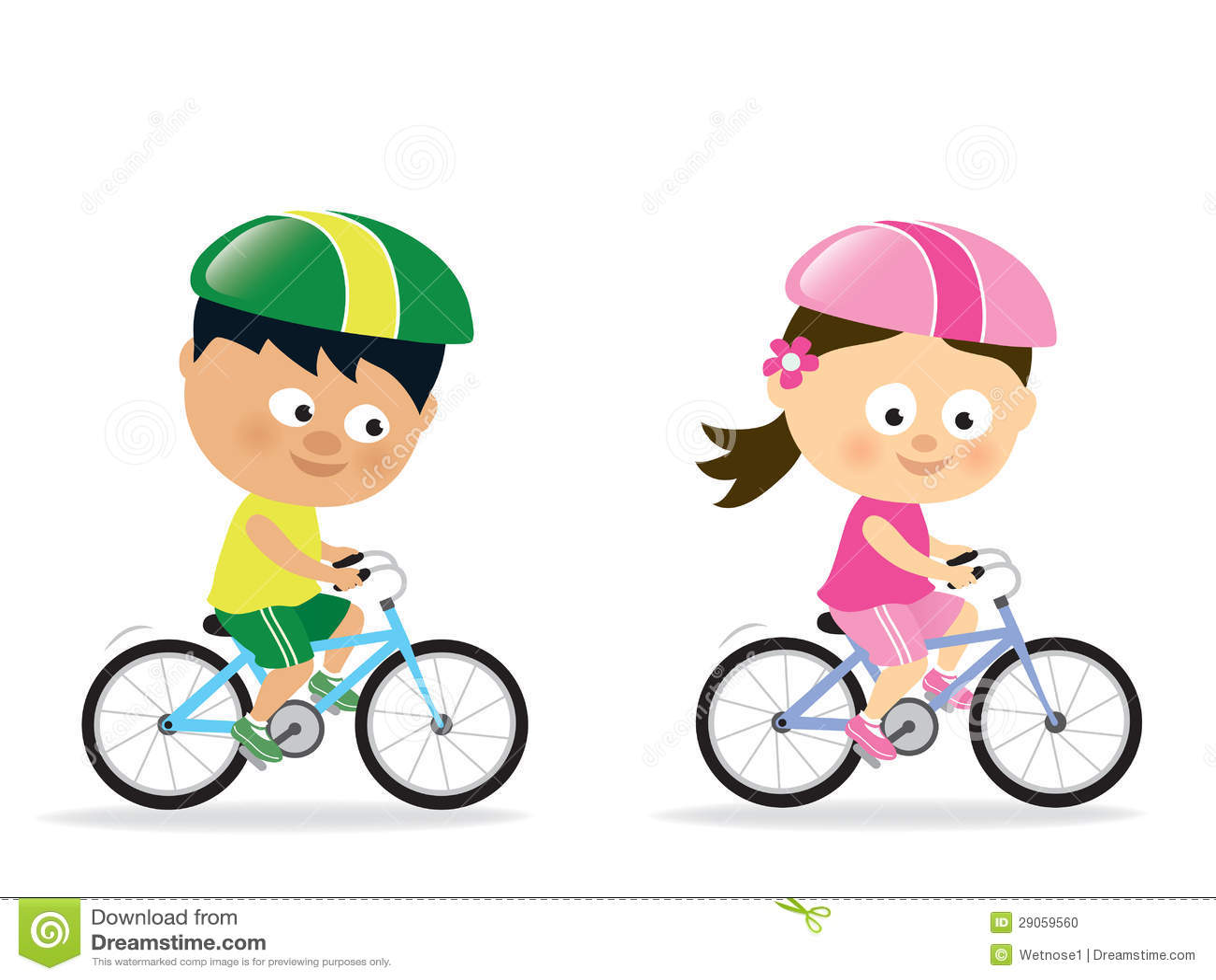Girl and boy biking stock vector. Illustration of bikes ...