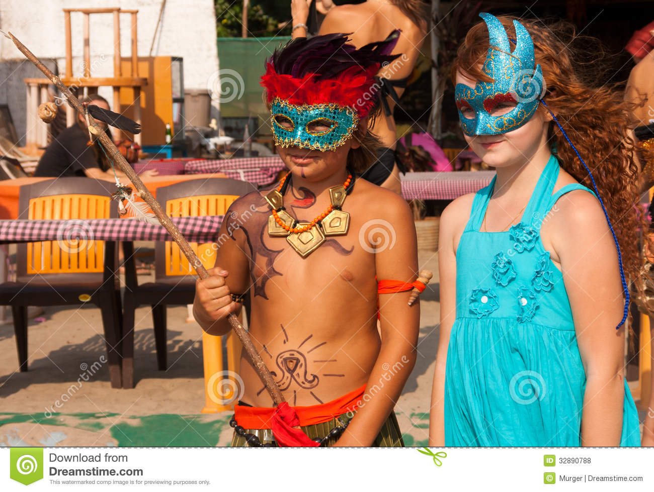 Girl And Boy In Carnival Costumes Editorial Stock Photo ...