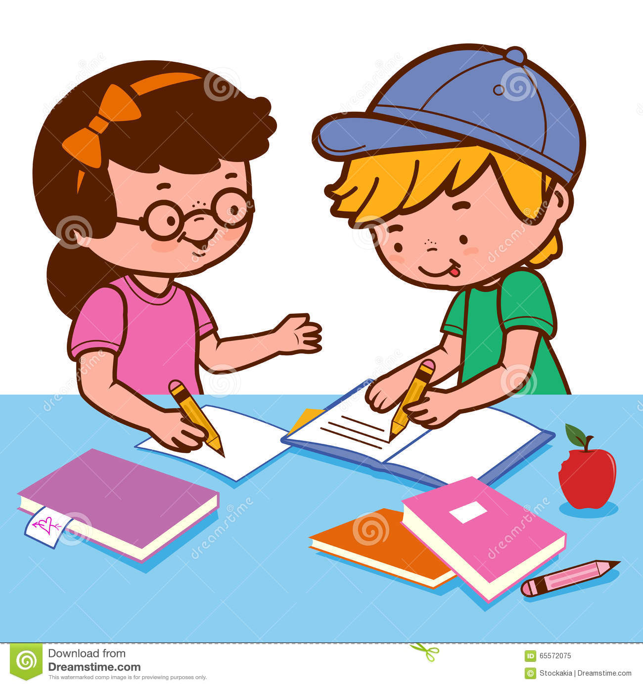 Girl Helping Boy With Homework  Royalty Free Stock Photography     Dreamstime com