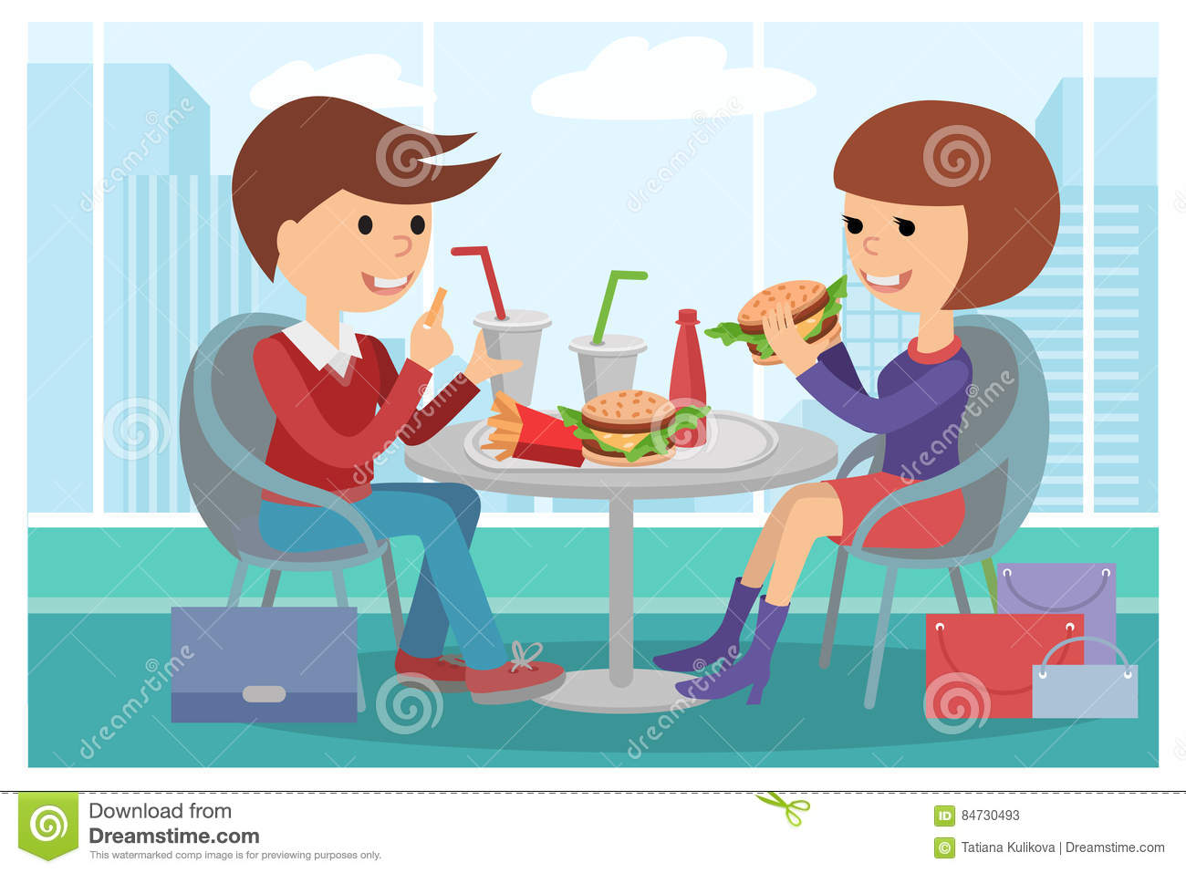 Girl And Boy Eating Fast Food Vector Illustration Of A People At Table With Sandwiches Drinks