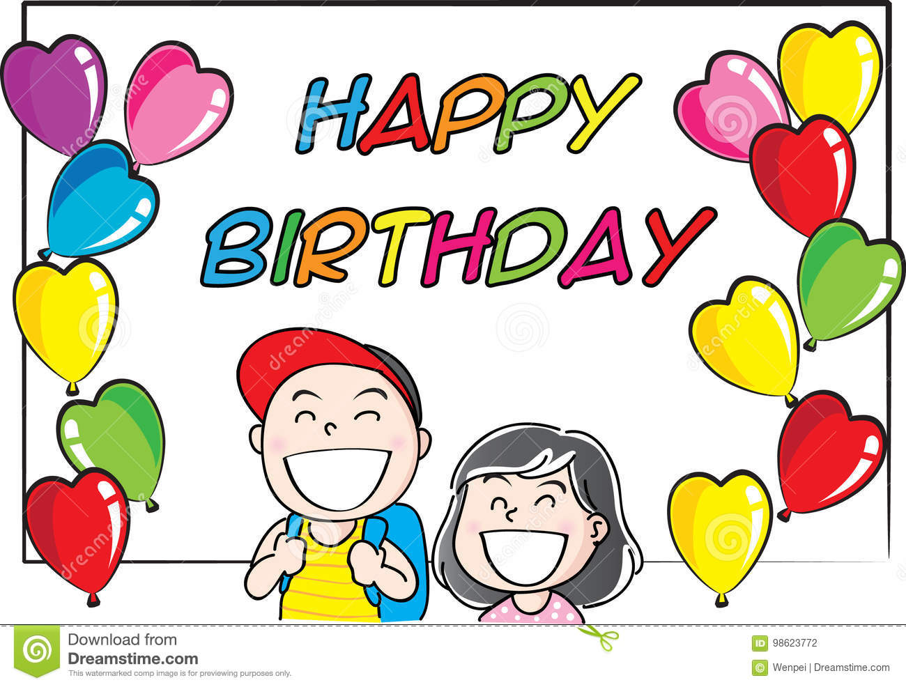 Girl And Boy Holding A Happy Birthday Card Stock Illustration