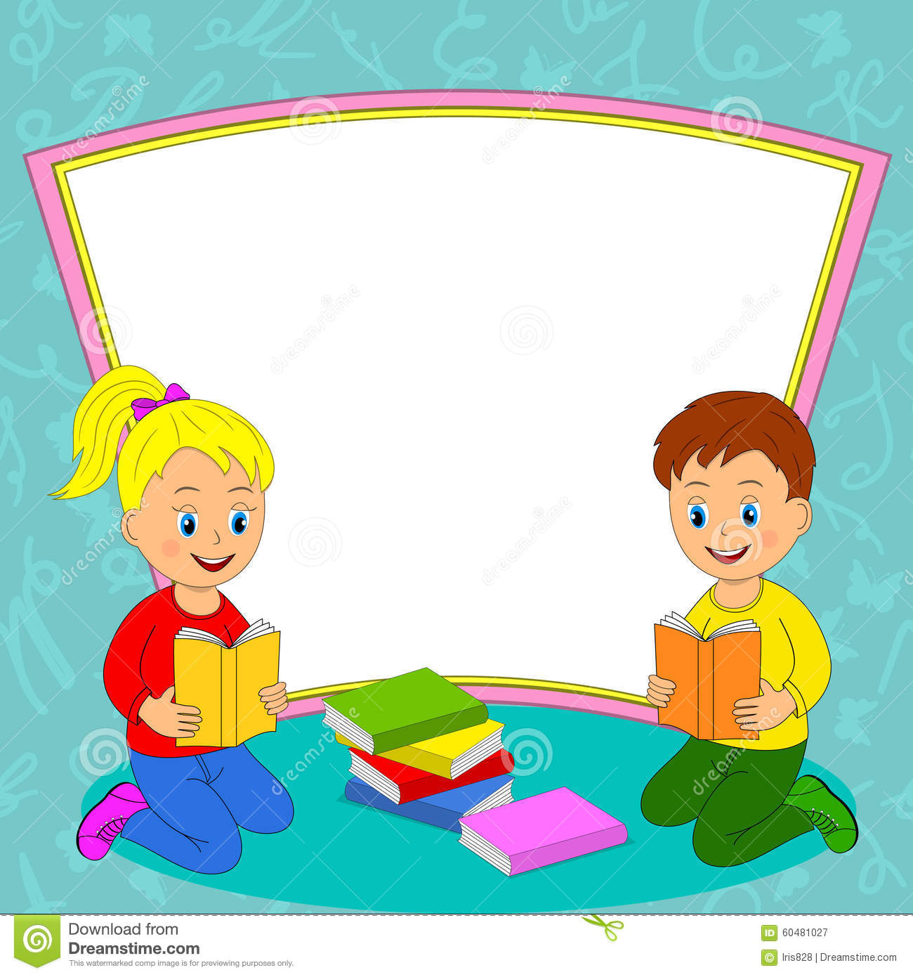 Girl And Boy Read The Book And Frame Stock Vector Illustration Of