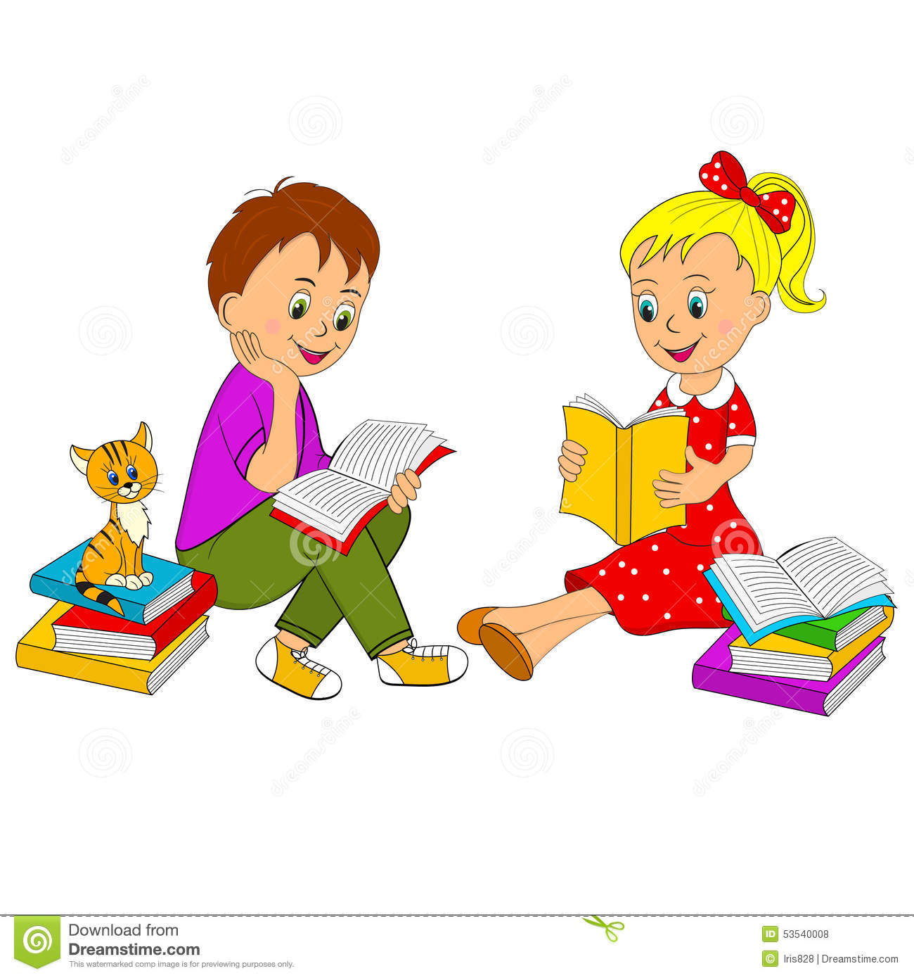 Girl And Boy Read The Book Stock Vector - Image: 53540008