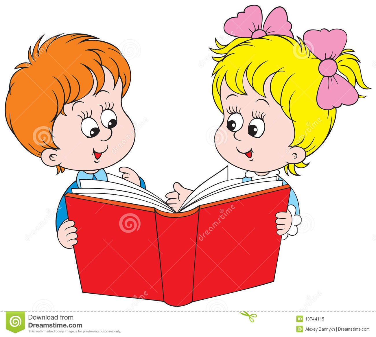 Girl And Boy Reading The Red Book Royalty Free Stock Photo ...