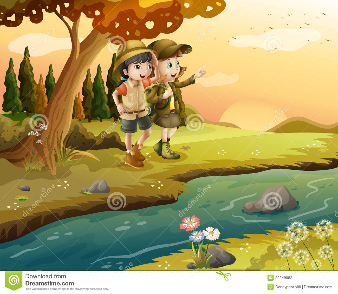 A girl and a boy at the riverbank