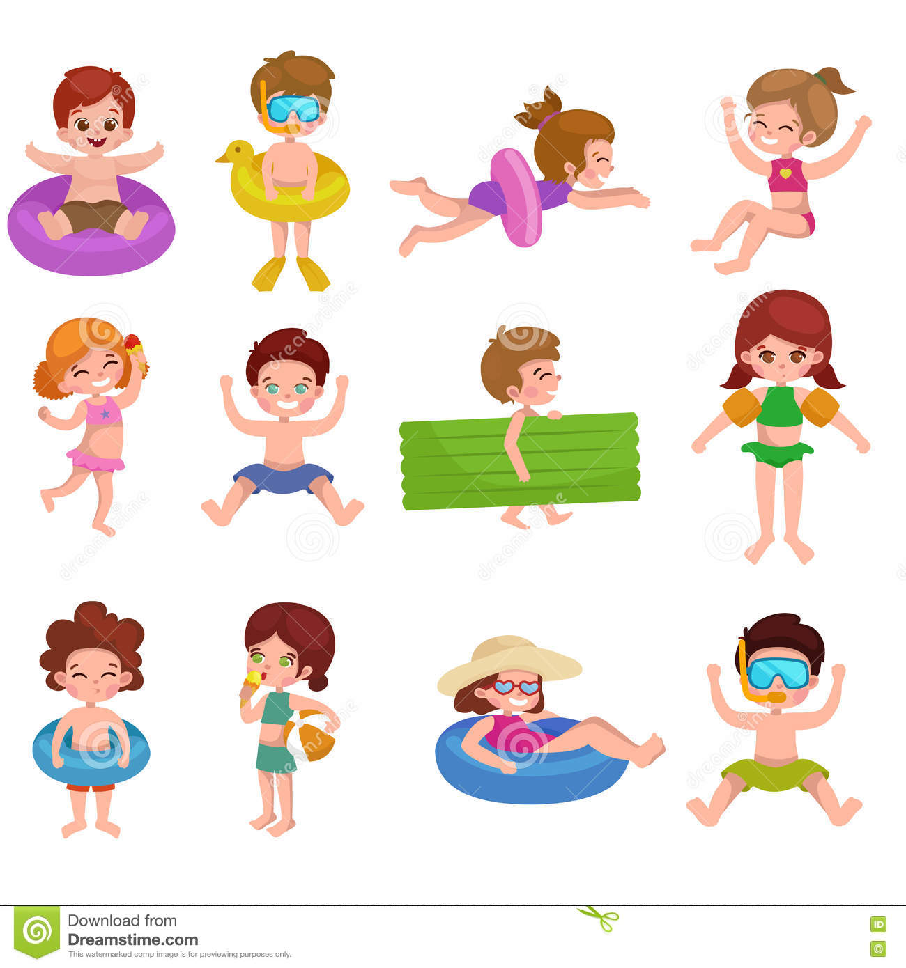 Girl And Boy In Swimsuit Isolated, Kids Summer Vacation ...