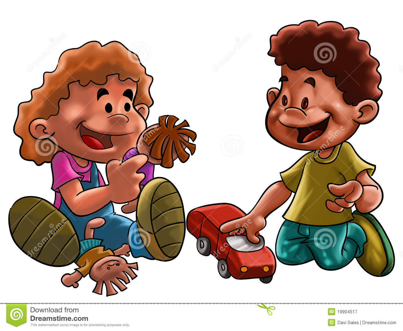 Boy Toys Drawing : Girl and boy toys stock illustration of