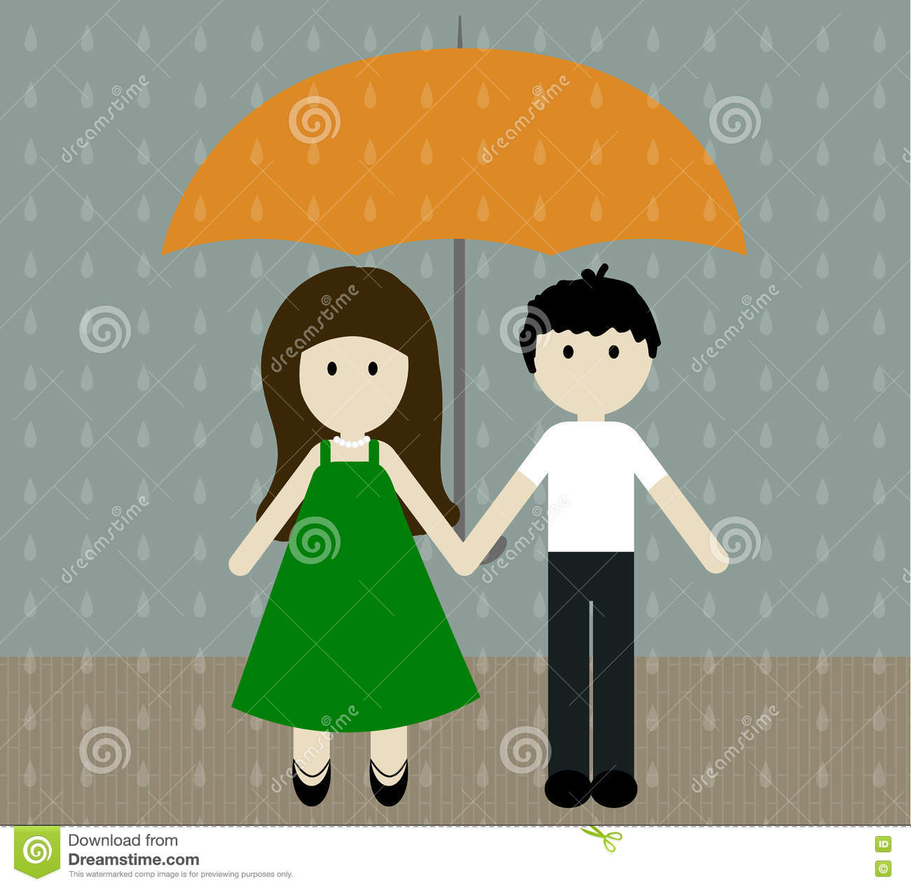girl and boy with umbrella in the pouring rain vector illustration