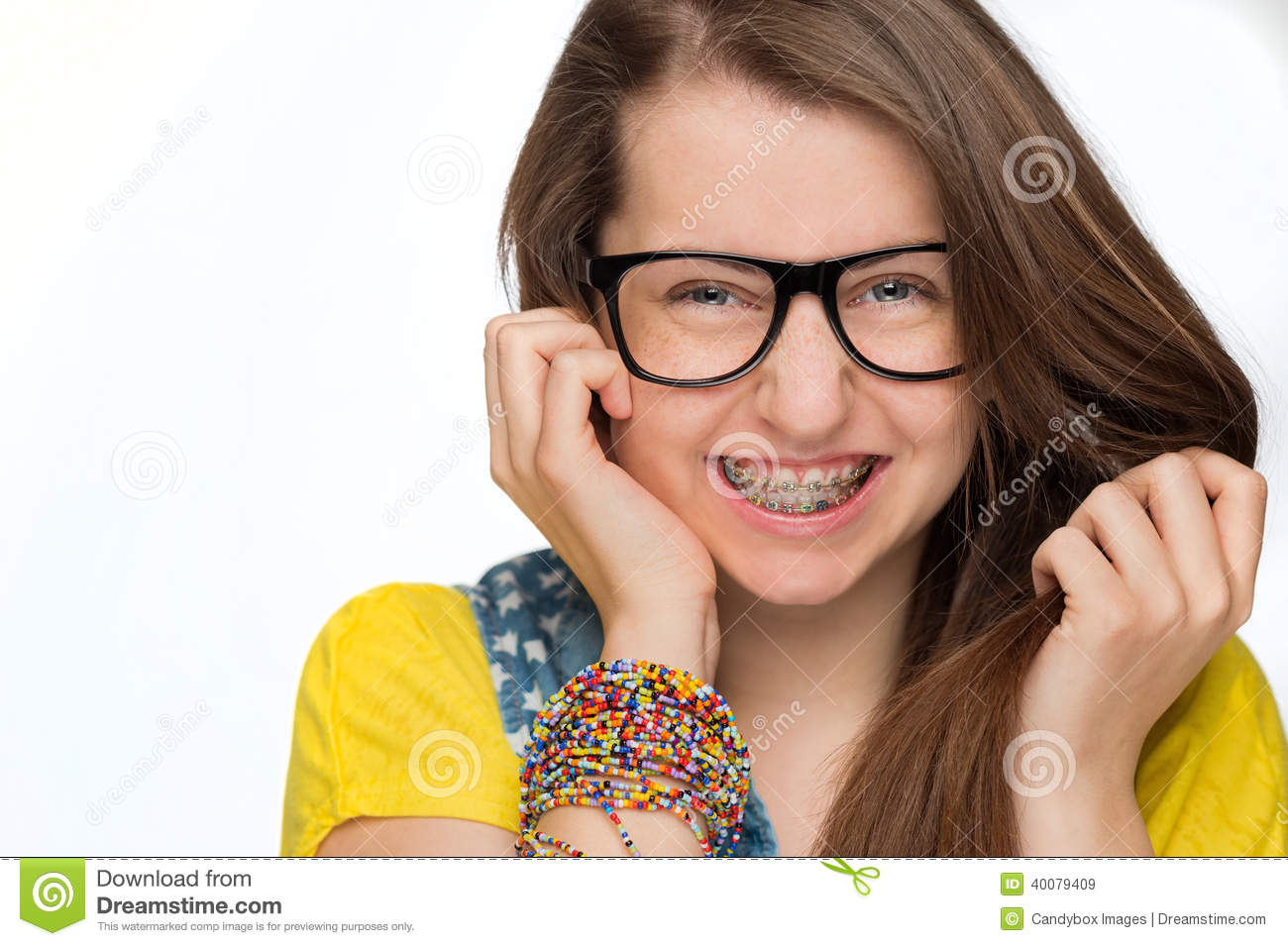 Girl With Braces Wearing Geek Glasses Isolated Stock Image - Image Of Dental, Female -5563