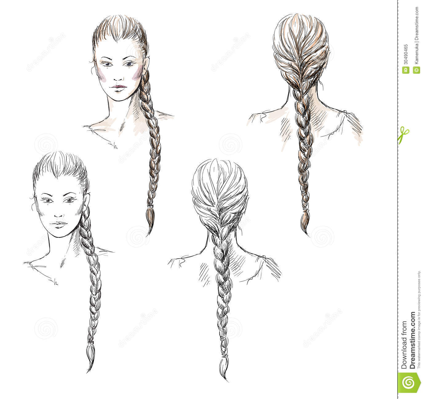 Astonishing Girl With A Braid Hand Drawn Royalty Free Stock Photo Image Short Hairstyles For Black Women Fulllsitofus